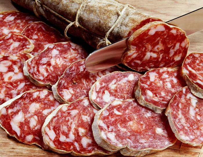 Sliced fresh salami