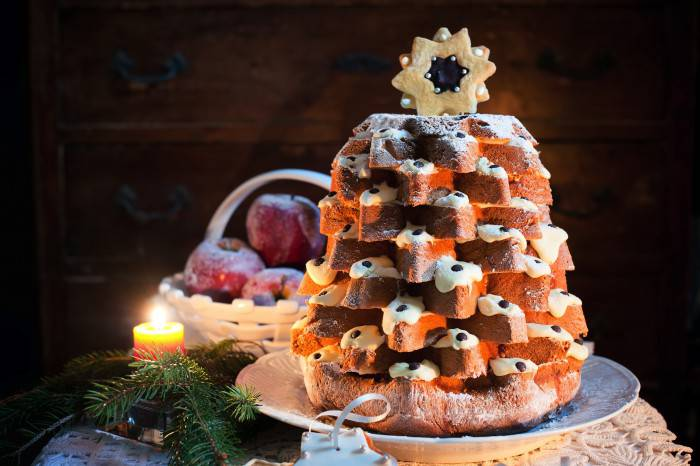Pandoro Christmas tree decorated