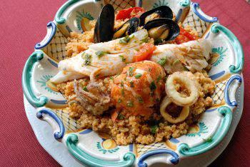 Fish couscous is a typical meal of the province of Trapani, Sicily