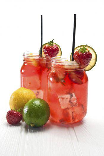 Fresh Fruit Punch in a jar