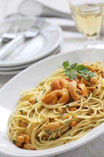 pasta with sea urchin roe, italian cuisine
