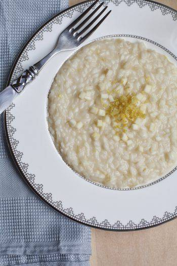 Risotto with Apple and Champagne, lemon zest on the top.