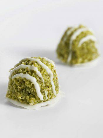 small Pistachio balls rolls on a table set up