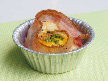 Close Up Of Isolated Fresh Homemade Cheese Eggs With Bacon