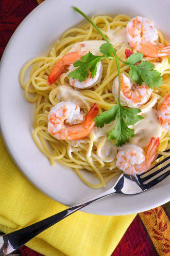 Spaghetti Limone e gamberetti