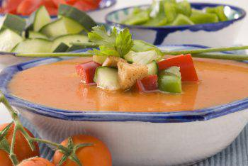 Spanish Cuisine. Gazpacho. Andalusian cold soup served in a ceramic bowl. Selective focus.