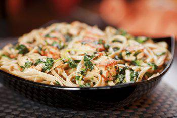 Pasta spinaci e salmone
