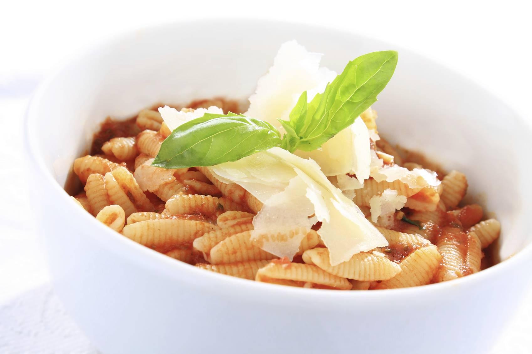 Italian pasta shells with tomato sauce
