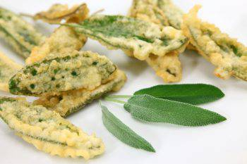 Deep fried Sage leaves or Salbeikuechlein