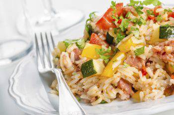 Delicious spicy rice with vegetables
