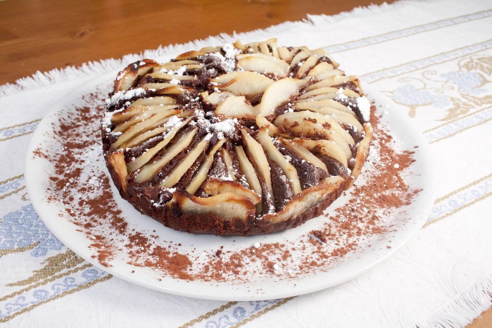 torta cioccolato e pere senza latte