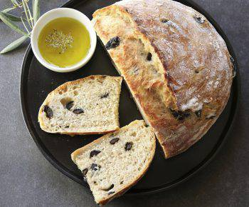 Black Olive Bread with a glass of red wine