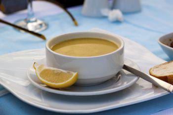 Turkish cream soup with white plate