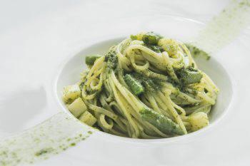 tasty pasta with asparaguson