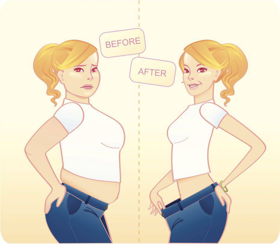 Illustration of a before-and-after look of a girl.