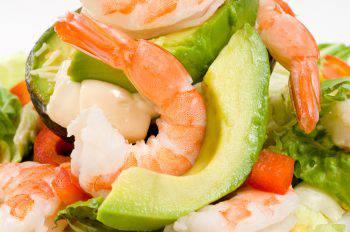 Avocado with shrimps salad