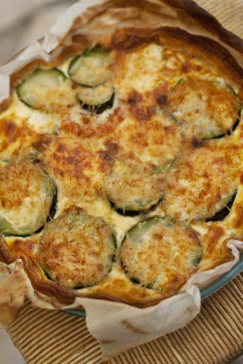 Zucchini pie and cheese
