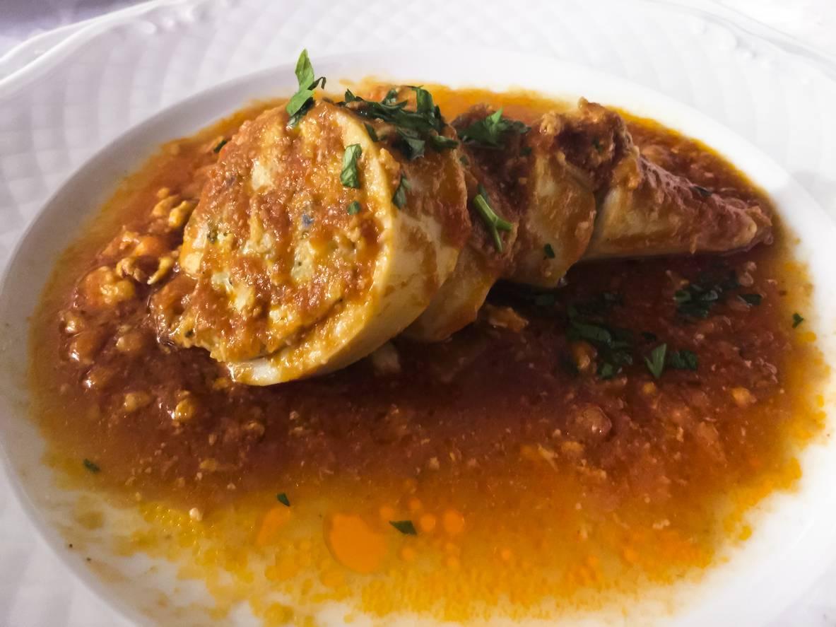 Calamari Ripieni con Crema di Zucca