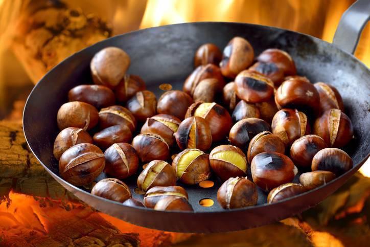 Castagne cotte in padella