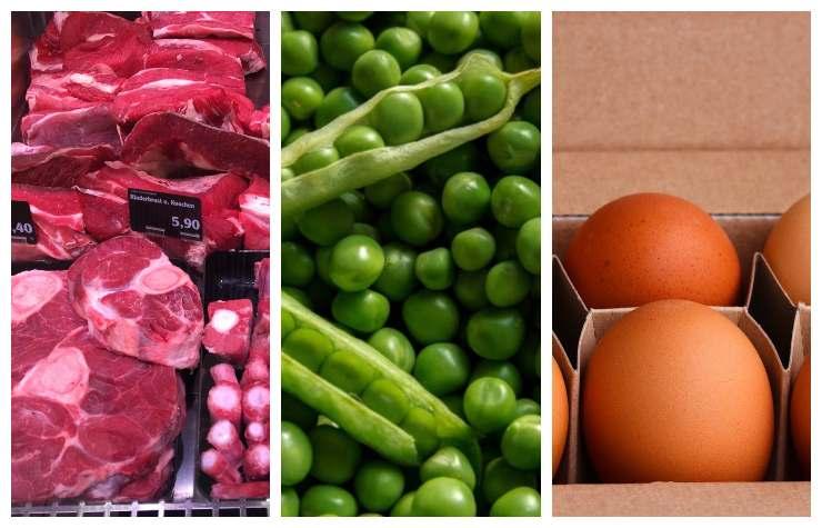 Carne piselli uova secondo