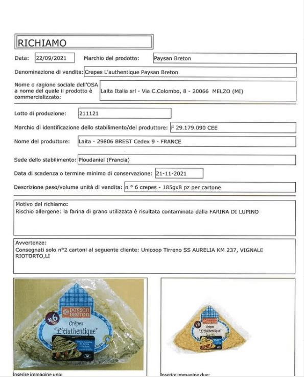 Crepes ritirate mercato allergene luppolo non dichiarato etichetta
